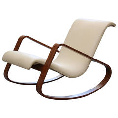 Italy Giuseppe Pagano Bentwood Leather Rocker