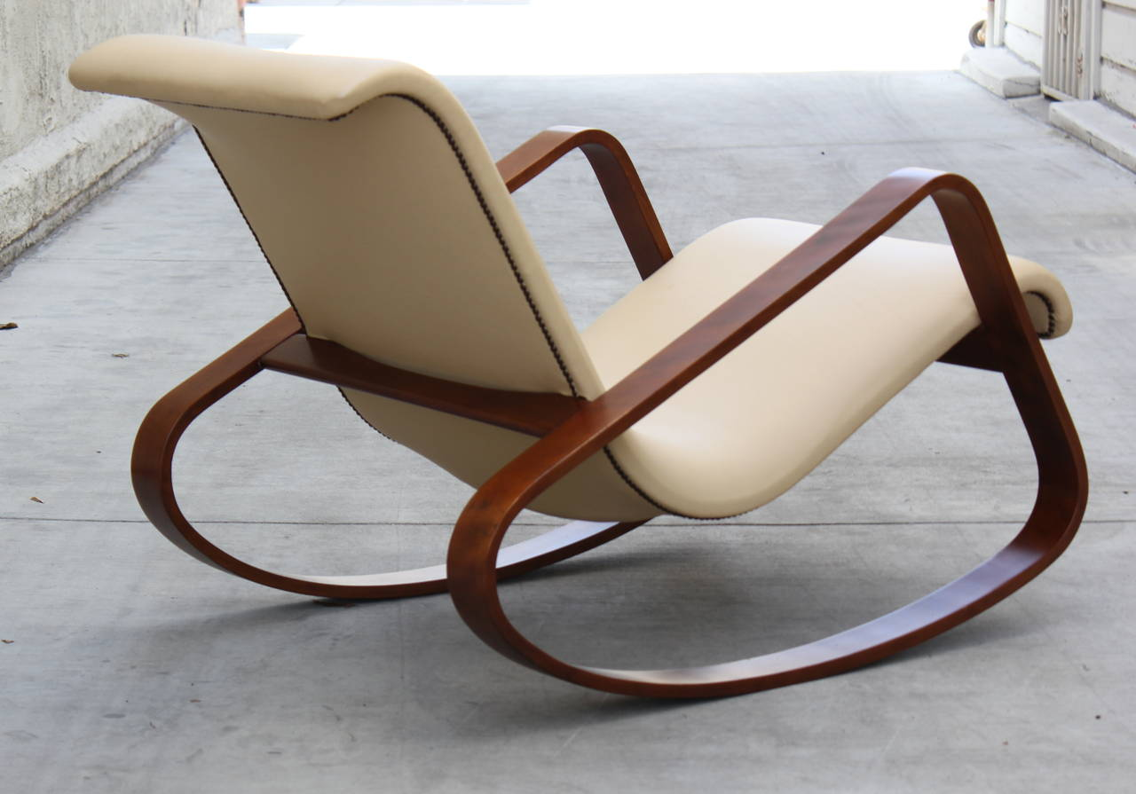 Superb img of Italy Giuseppe Pagano Bentwood Leather Rocker at 1stdibs with #61432F color and 1280x895 pixels
