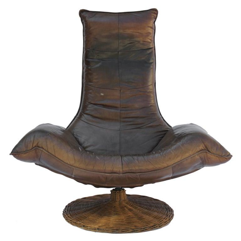 Gerard Van Den Berg Leather Swivel Lounge Chair At 1stdibs