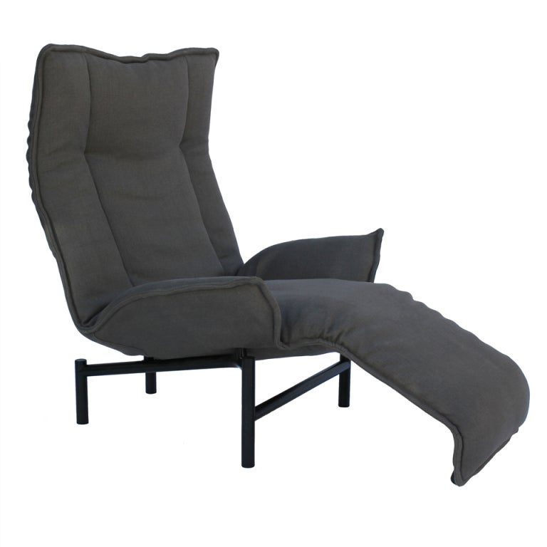 Black leather club chair - Vico Magistretti For Cassina Quot Veranda Quot Adjustable Armchair