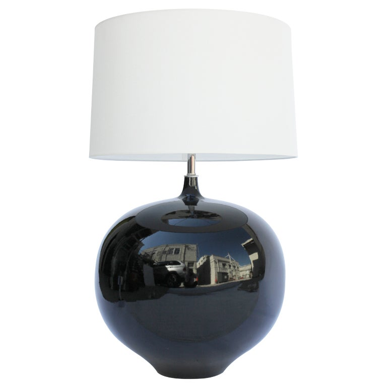 Large 70s Black Ceramic Lamp At 1stdibs