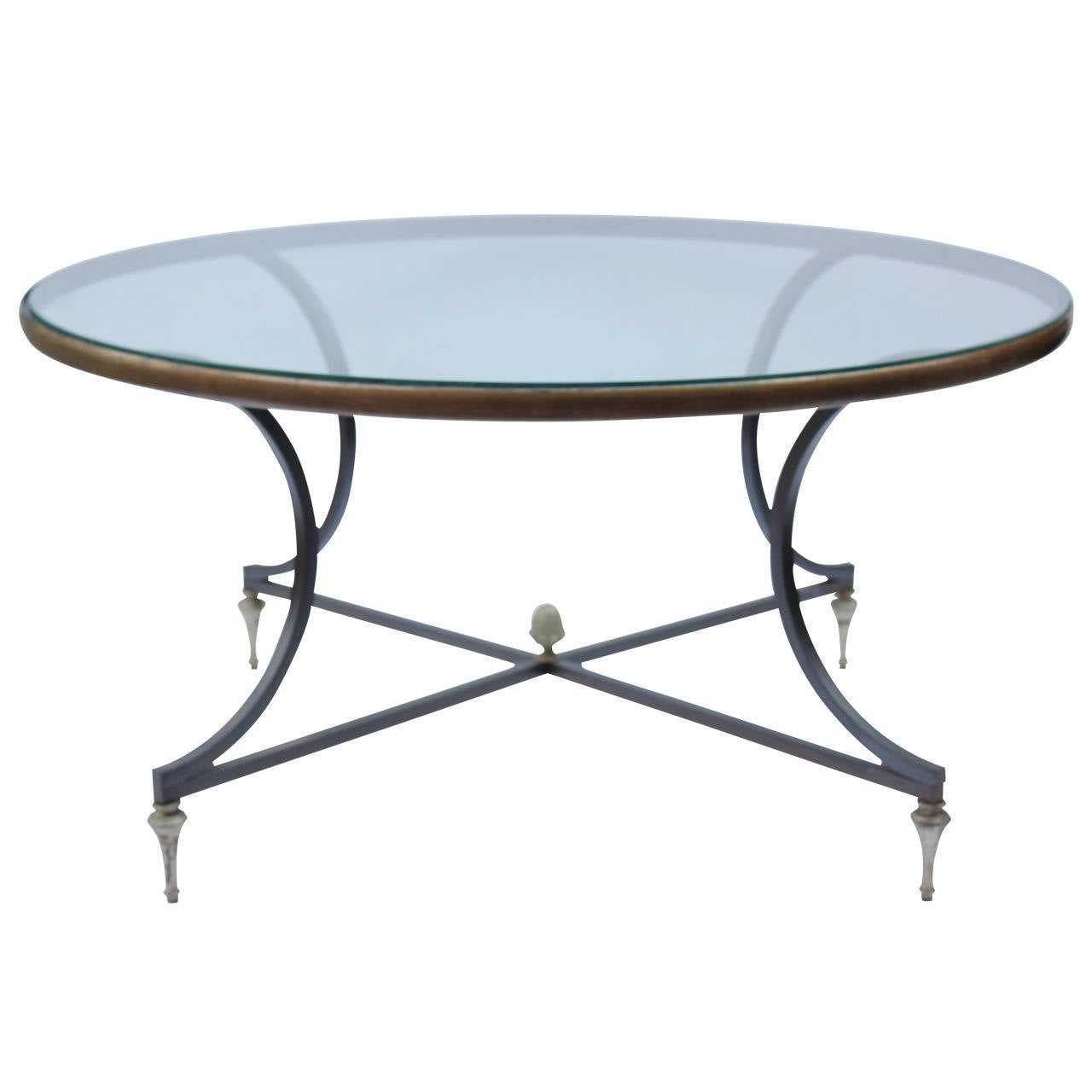 French Iron and Brass Cocktail Table 1