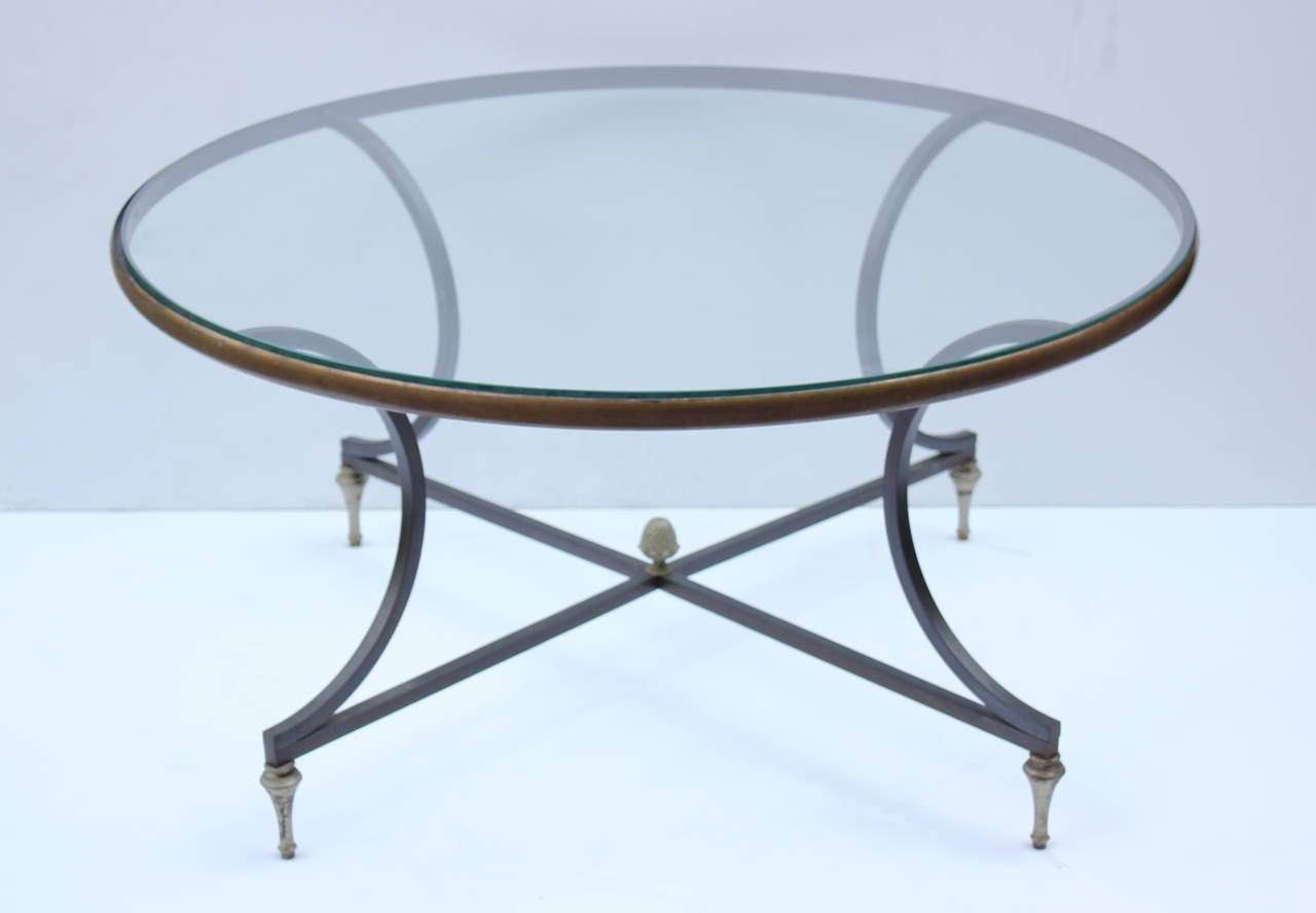 French Iron and Brass Cocktail Table 2