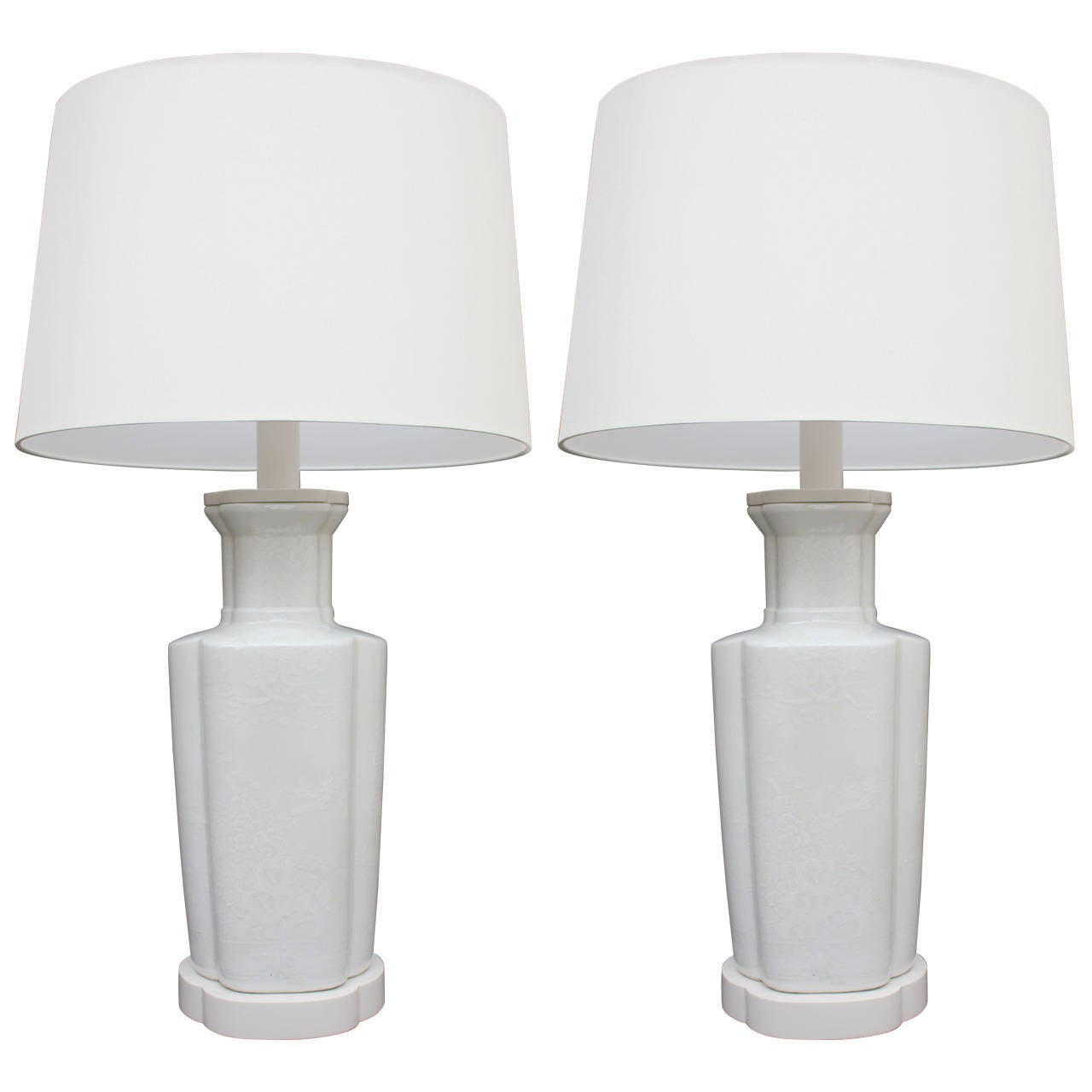 Pair of blanc de chine table lamps for sale at 1stdibs for Table de chine