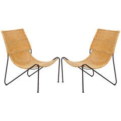 Pair of Mexican Iron and Caned Lounge Chairs