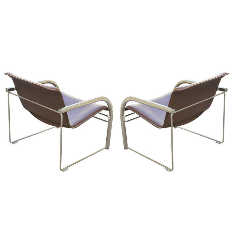 Pair of Richard Schultz Leather and Chrome RS48 Lounge Chairs