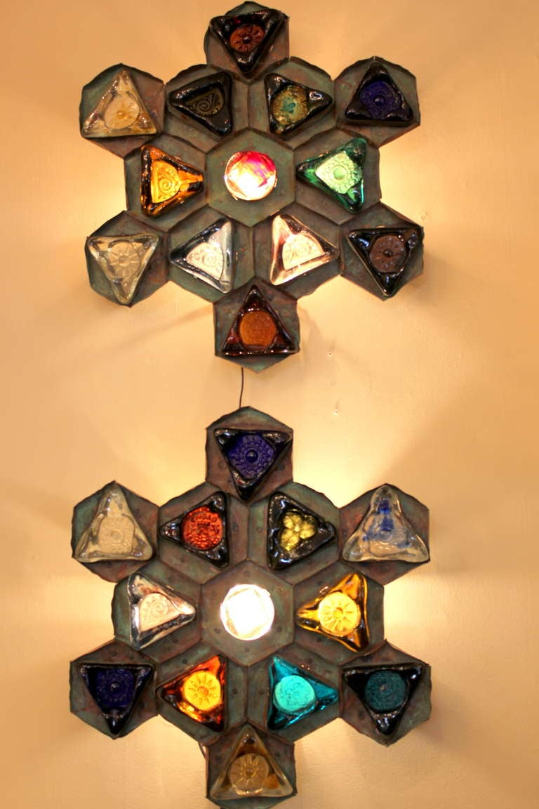 Wall Sconces Mexican : Pair of Large Copper and Mexican Glass Sconces at 1stdibs