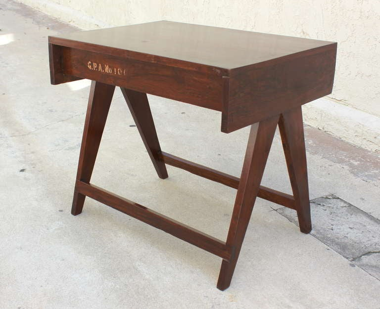 Pierre Jeanneret Chandigarh student teak desk from the Administrative buildings. Teak. Stenciled numbers. France / India.