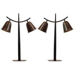 Pair of Italian Oil Rubbed Bronze Horn Lamps