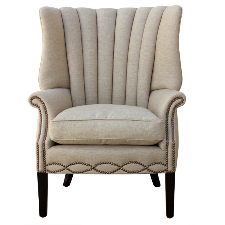 1940s Channel Back Linen Wing Chair at 1stdibs