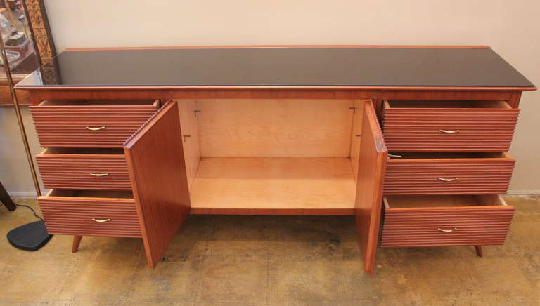 Mid-20th Century Italian Ribbed Walnut Cabinet For Sale