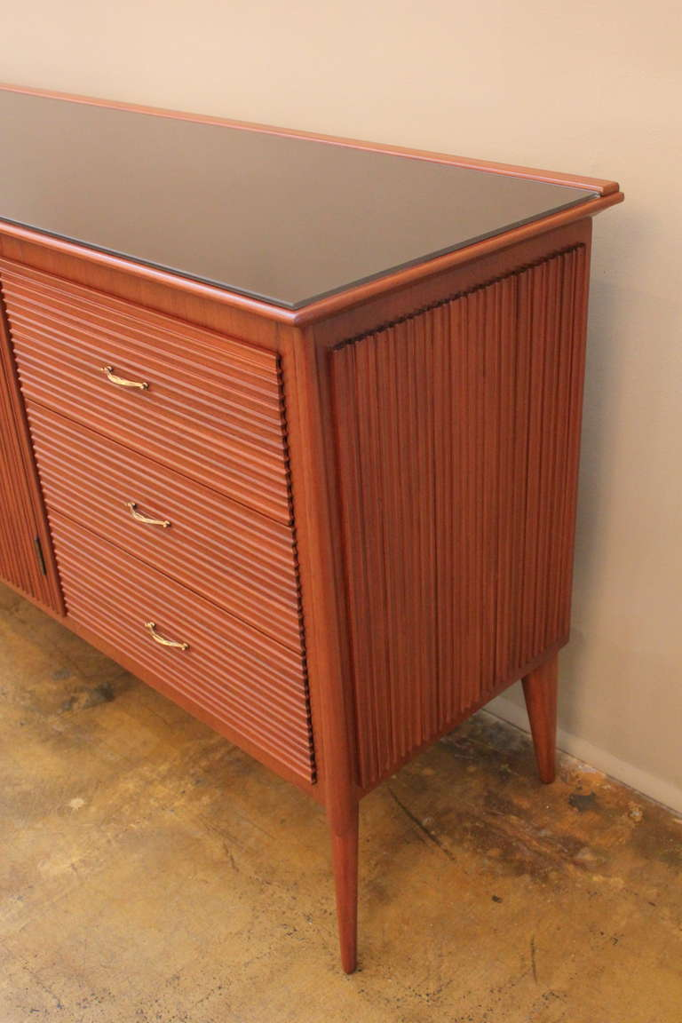 Brass Italian Ribbed Walnut Cabinet For Sale