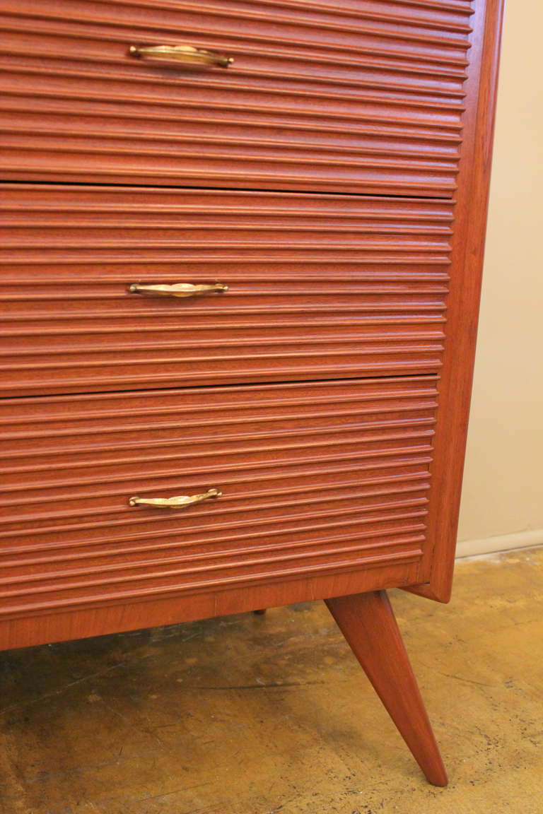 Italian Ribbed Walnut Cabinet For Sale 1