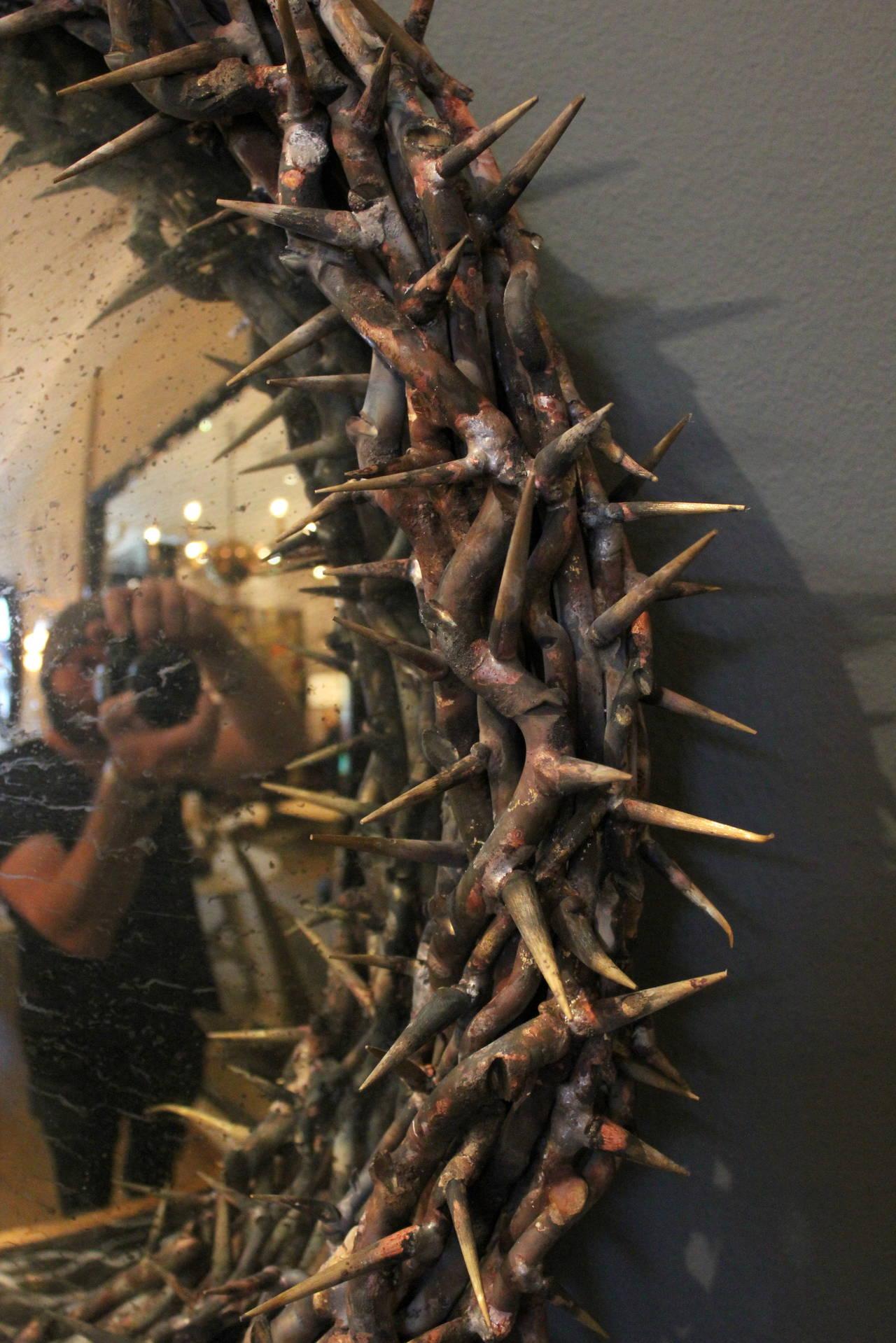 Large Onik Agaronyan Convex Crown Of Thorns Mirror For