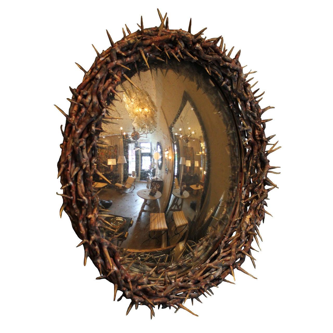 Large Onik Agaronyan Convex Crown of Thorns Mirror
