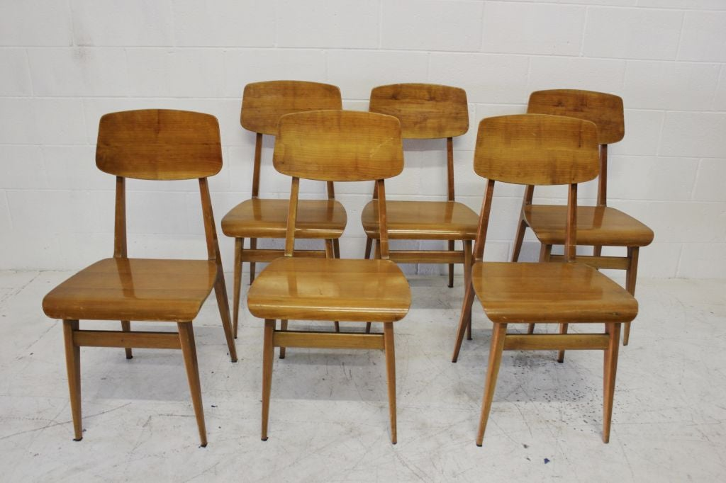 Set of six italian bent wood dining chairs at 1stdibs for S bent dining room furniture