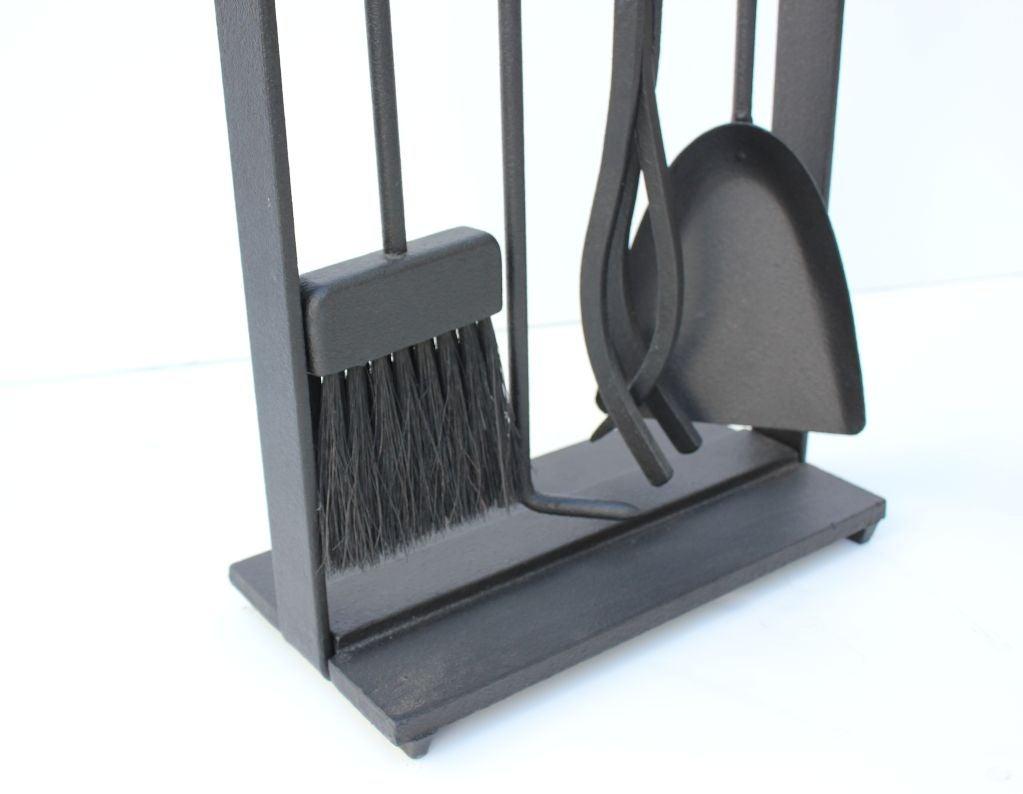 modern set of iron fireplace tools at 1stdibs
