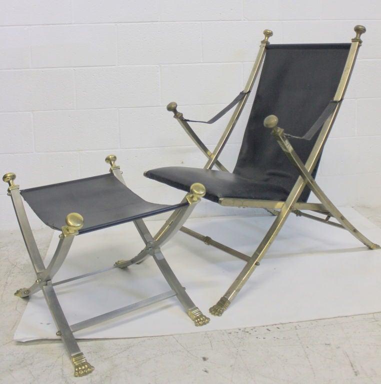Brass Pair of Maison Jansen Armchairs For Sale