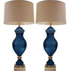 Pair of Seguso Murano Glass Lamps