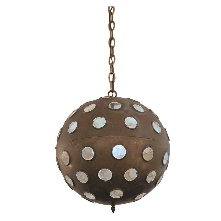 aged brass globe pendant with clear glass disks at 1stdibs