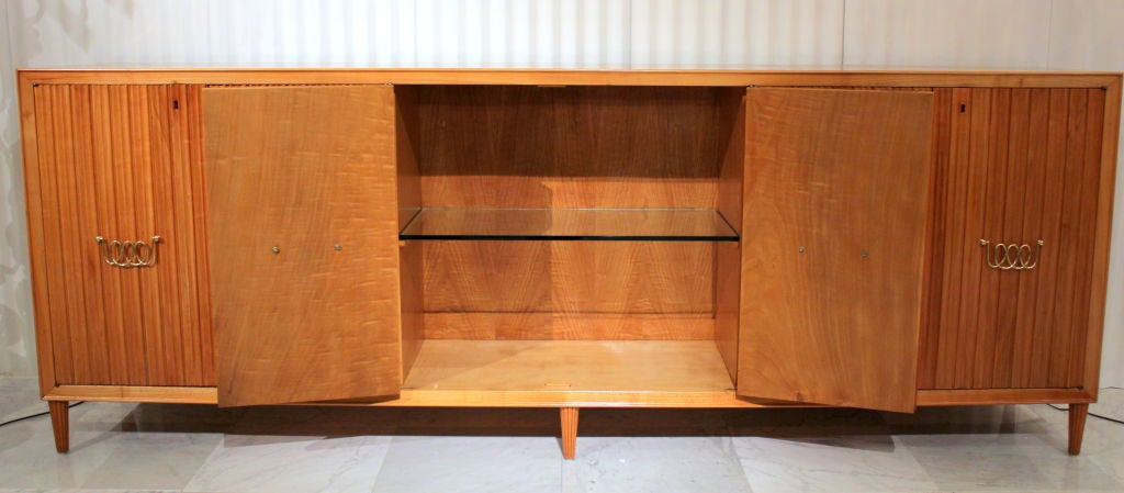 Paolo buffa figured bleached walnut cabinet at 1stdibs for Bleached wood kitchen cabinets