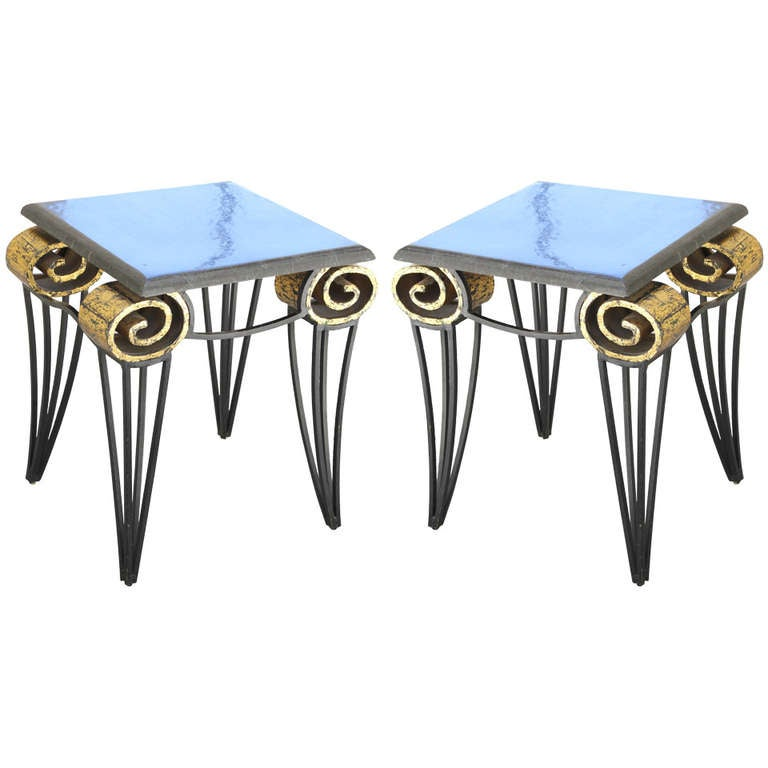 Important Pair of Arturo Pani Scroll Tables For Sale