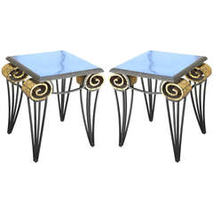 Important Pair of Arturo Pani Scroll Tables
