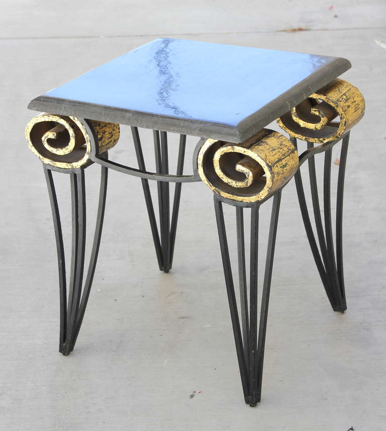 Pair of Arturo Pani Iron, gilt and Stone Scroll Tables executed by Talleres Chacon. All Pani pieces are custom designed for each client. Provenance upon request.