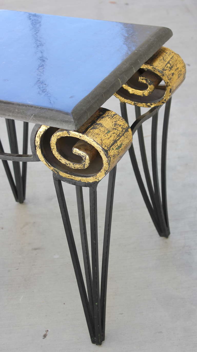 Mexican Important Pair of Arturo Pani Scroll Tables For Sale