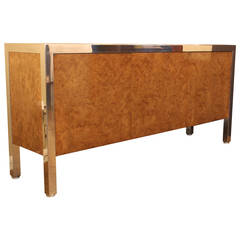 Leon Rosen for Pace Collection Stainless Steel and Burl Cabinet