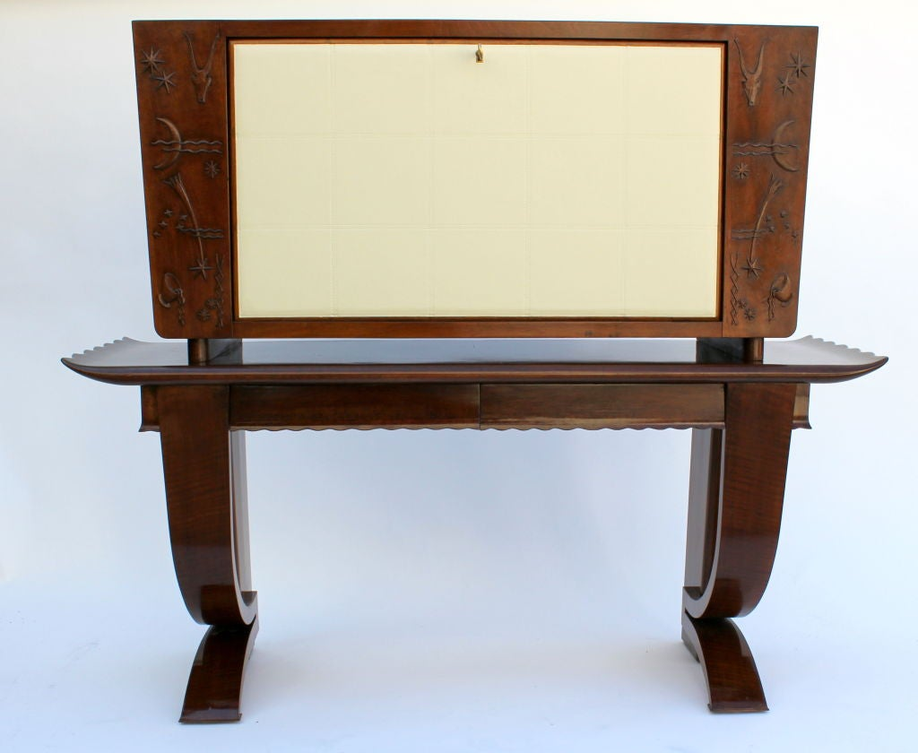 1930s, Italian Cabinet with Tooled Leather Door 2