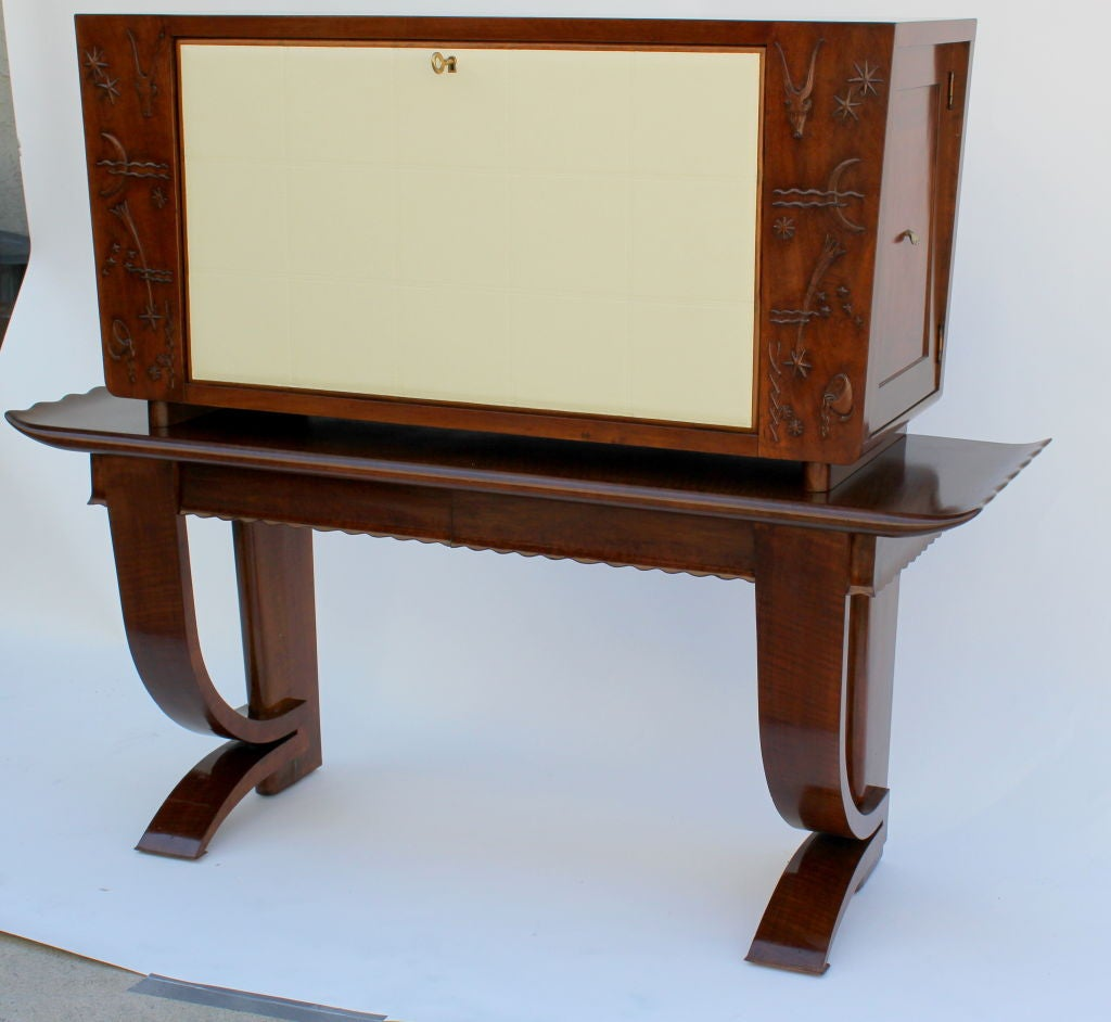 1930s, Italian Cabinet with Tooled Leather Door 3