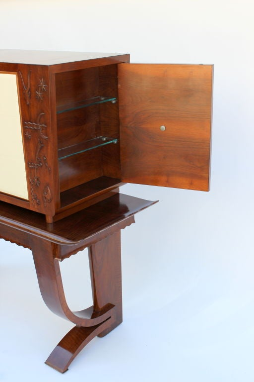 1930s, Italian Cabinet with Tooled Leather Door 5