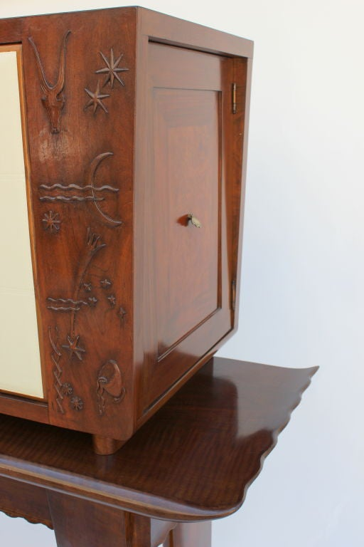 1930s, Italian Cabinet with Tooled Leather Door 6