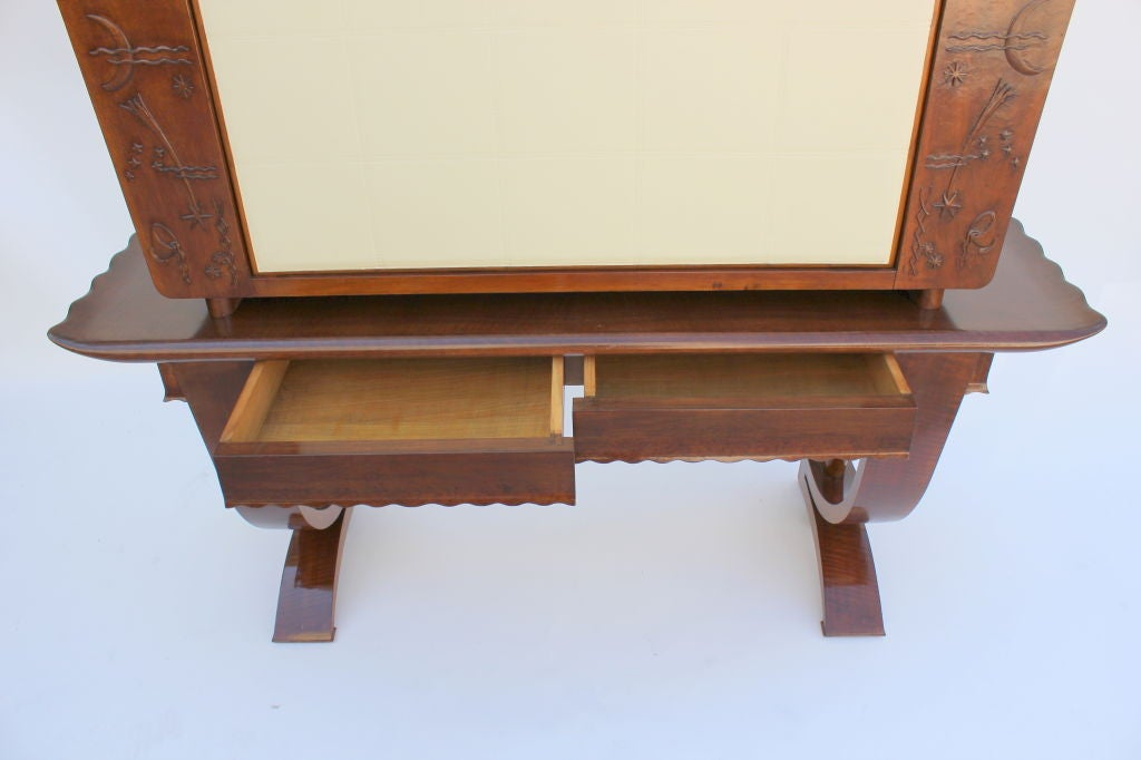 1930s, Italian Cabinet with Tooled Leather Door 7