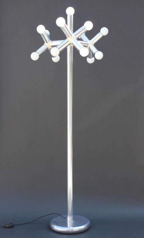 Robert Hausmann Kristall floor lamp. Aluminum. Rewired black twist cord with floor switch. Made by Swisslamps,Intl.