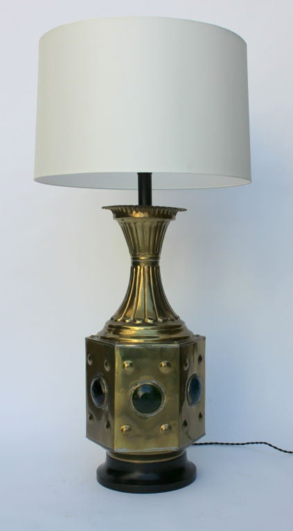 Moroccan Brass Lamp With Glass Cabachons Emerald Green Blue Purple Rewired