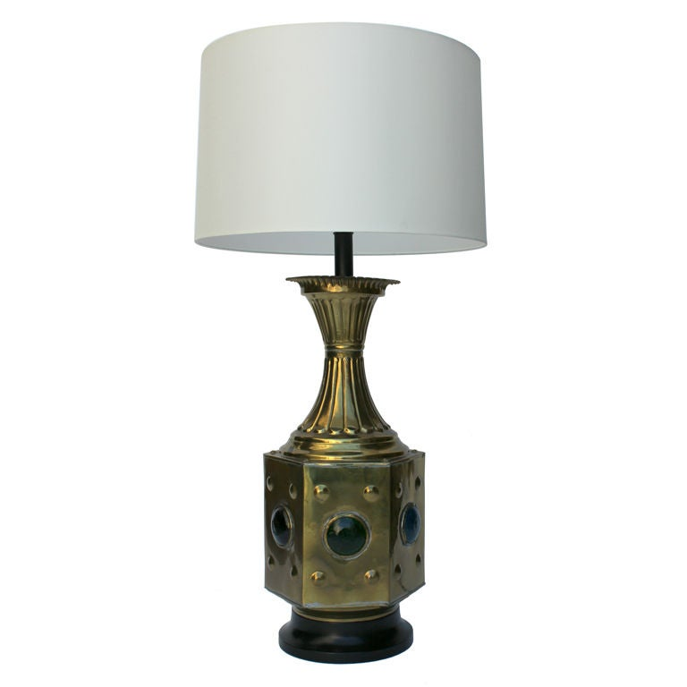 Large Brass And Glass Moroccan Table Lamp For