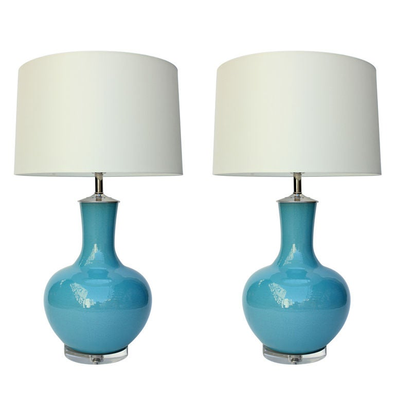Pair of Ceramic Lamps on Lucite Bases