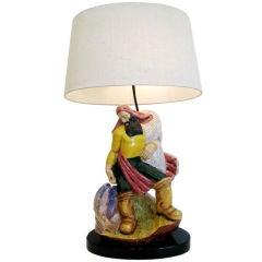 Large Italian Majolica, 1930s Lamp