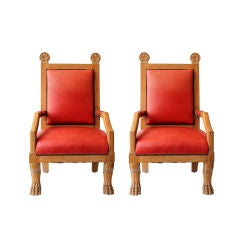 Pair of French Arm Chairs in the Manner of Jean Charles Moreux