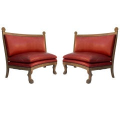 Pair of Ceruse Oak Curved Settees Manner of Charles Moreux