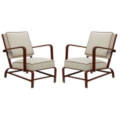 Pair of Jacques  Quinet Saddle Stiched Leather  Chairs