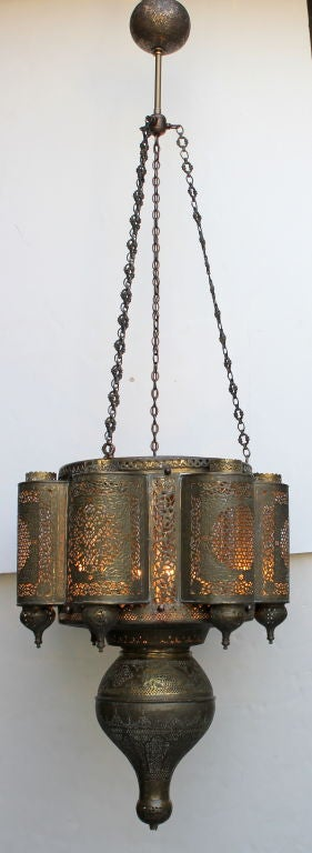 1950s Moroccan Chandelier. Beautiful Brass piercing.  Newly rewired.