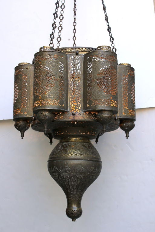 Vintage  Moroccan Chandelier In Good Condition For Sale In Los Angeles, CA