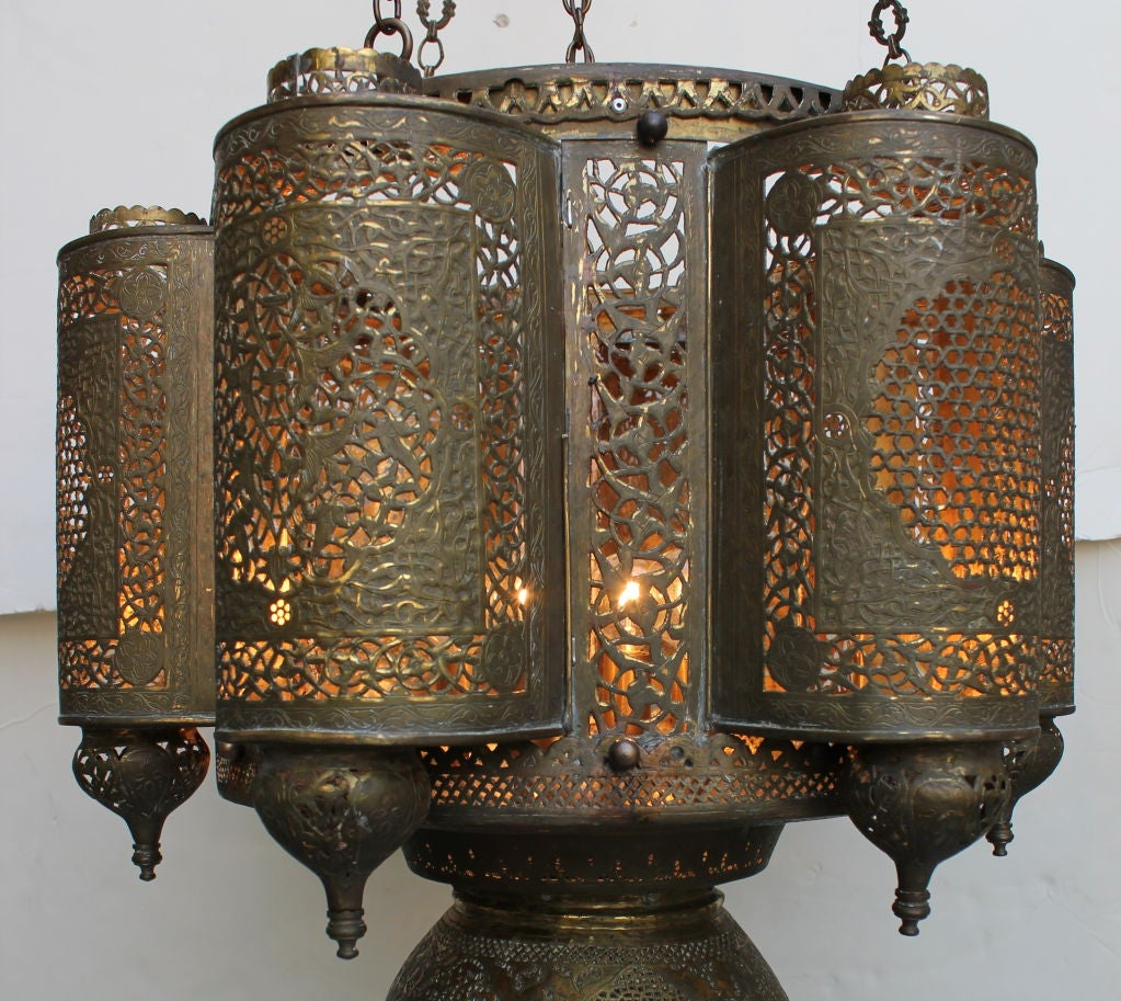 Brass Vintage  Moroccan Chandelier For Sale