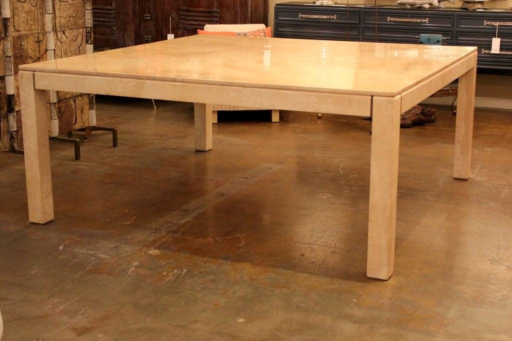 6 ft square karl springer parchment dining table at 1stdibs