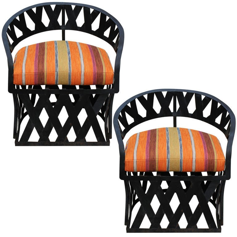 "Pair of ""Equipal"" Iron Lounge Chairs and Ottomans For Sale"