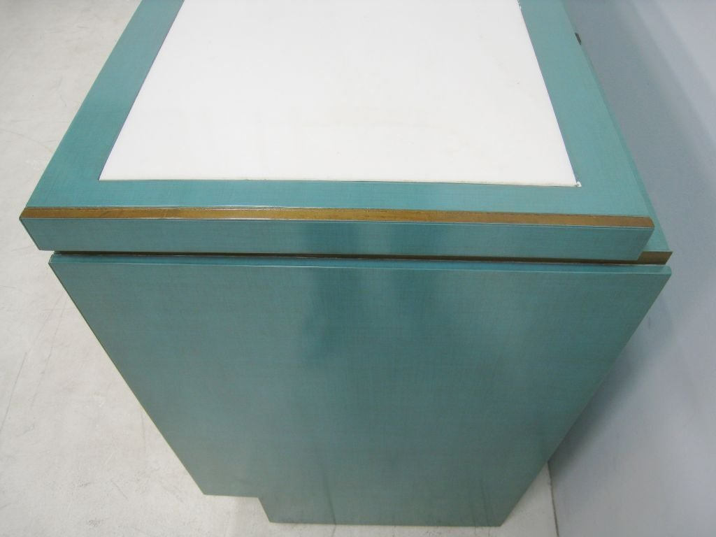 Pair of Lacquer Cabinets Inset Marble from Bullocks Wilshire 5