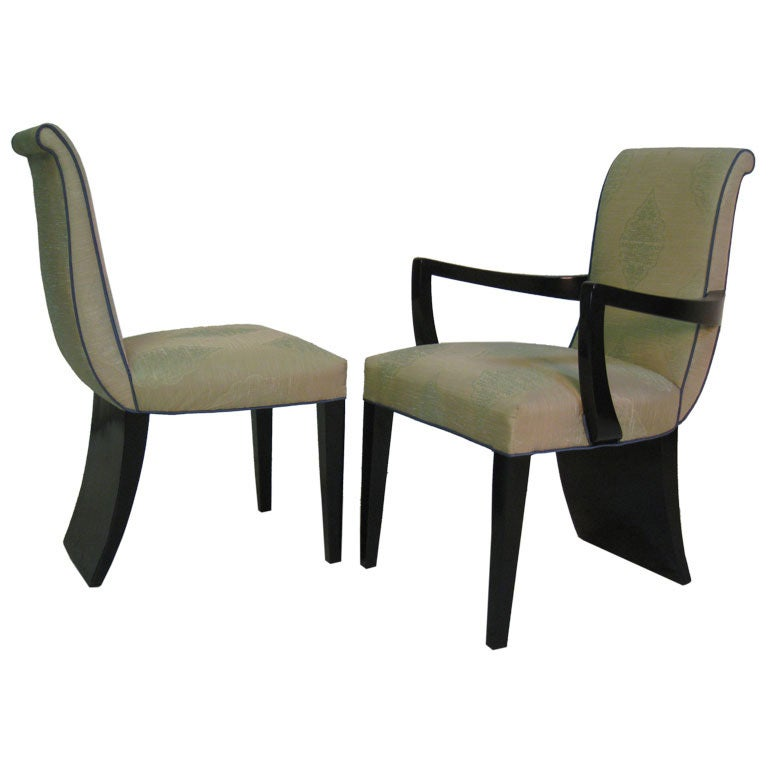 Set of Eight Custom James Mont Paddle Dining Chairs